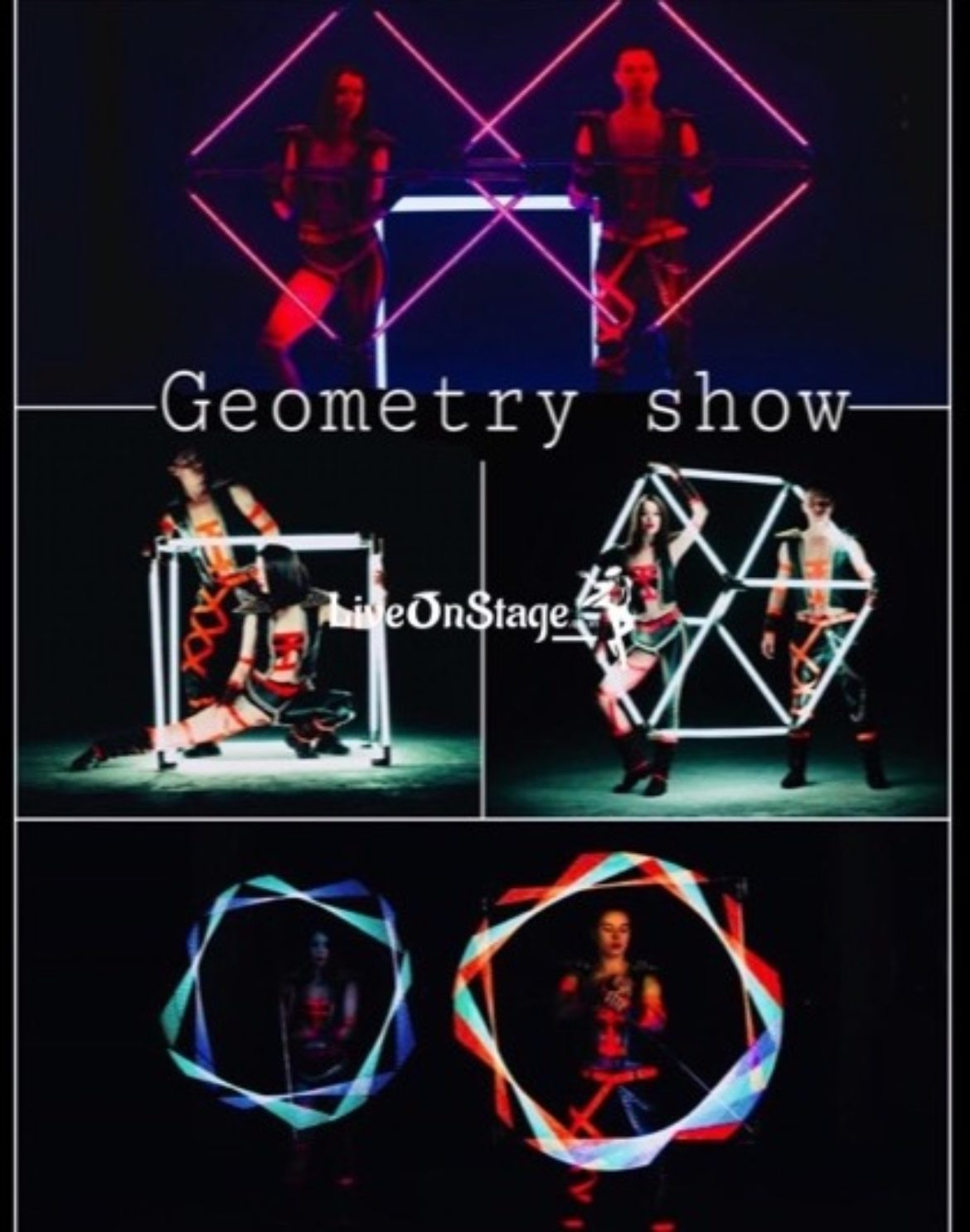 Led Geometry Show, Led Geometry Act, Led Act, UV Act, Interactive Act, Blacklight Show, Live On Stage, Live On Stage Entertainment, Visual Act, Circus Act,